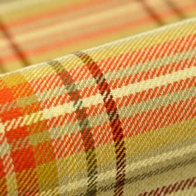 Ferden CS - Beige - A bright orange, mustard yellow, cream, olive green, dark brown, mid grey and light grey checked 100% Trevira CS fabric