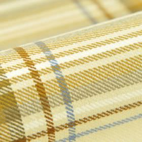 Ferden CS - Cream - Fabric made from 100% Trevira CS with a clean checked design in light shades of cream, brown, gold, white, blue and grey