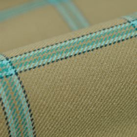 Davos CS - Beige Blue - Light grey fabric made from 100% Trevira CS with horizontal and vertical stripes in light blue which are edged in bl