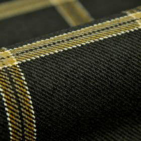 Davos CS - Black Beige - Horizontal and vertical stripes in gold, edged in white, patterning charcoal coloured 100% Trevira CS fabric