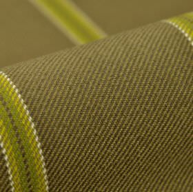 Campo CS - Taupe Green (1) - Mustard yellow coloured stripes with white edges running across 100% Trevira CS fabric in a plain coffee colour