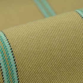 Campo CS - Beige Blue - Light shades of blue and brown making up a simple, smart striped pattern on fabric made from 100% Trevira CS