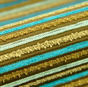 Stalden CS - Blue (7) - Textured stripes in cream, olive green, khaki, ice blue and aqua blue on fabric made entirely from Trevira CS