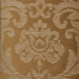 Ashley - Beige - A large leafy floral pattern in light grey against light brown polyester, viscose and viscose-chenille blend fabric