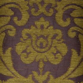 Ashley - Brown Green (12) - Large, ornate, leafy designs patterning fabric blended from three different materials in midnight blue and olive