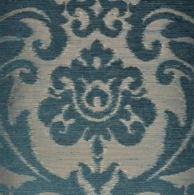 Ashley - Blue - Air Force blue and silver-blue coloured fabric blended from different materials, patterned with large, ornate designs
