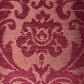 Ashley - Red (18) - Fabric made in two shades of purple from three different materials, featuring designs which are large, ornate and leafy