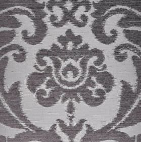 Ashley - Grey Silver (19) - Polyester, viscose and viscose-chenille blend fabric featuring large ornate leafy designs in icy blue and dark b