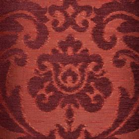 Ashley - Red - Fabric blended from various different materials in plum and dusky pink-red, featuring a large leafy floral pattern