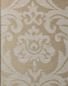 Ashley - Cream Beige - Silver and beige coloured fabric blended from different materials, with a large, ornate leafy floral pattern
