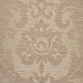 Ashley - Cream - Three different materials making up a fabric with a large, ornate, leafy pattern in two similar light shades of silver