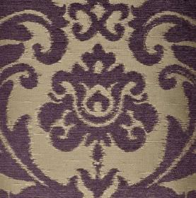 Ashley - Purple - Dark blue large, ornate leafy designs against a shiny silver fabric background containing a blend of different materials