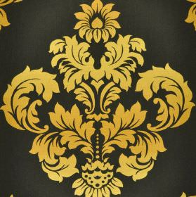Victoria - Black Yellow - Crest-like leafy designs printed in golden yellow on a slate grey coloured 100% cotton fabric background