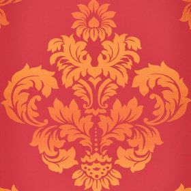 Victoria - Red Orange - Pink and orange coloured fabric made entirely from cotton, featuring a large, ornate, leafy crest-like pattern