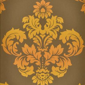 Victoria - Brown Orange - 100% cotton fabric in brown-grey behind a large, ornate, leafy crest-like pattern printed in shades of orange