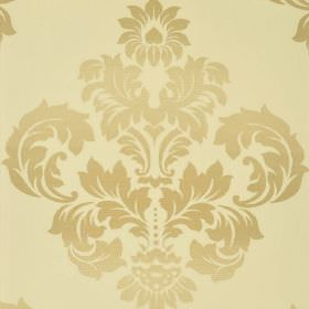 Victoria - Cream Beige - Several different cream and beige shades making up a 100% cotton fabric with a large, ornate, leafy crest-like desi