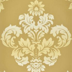 Victoria - Brown Cream - Cream and white coloured ornate, leafy crest-like designs on a wafer coloured 100% cotton fabric background