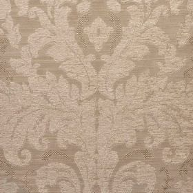 Augusta - Beige - A large, ornate leafy pattern printed in very pale grey on fabric blended from four materials in a slightly darker shade