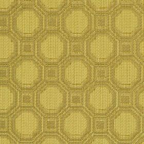Vivian - Gold (2) - Octagons and squares patterning cotton and rayon blend fabric in golden cream and light brown shades