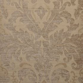 Augusta - Brown1 - Two light shades of grey making up fabric blended from various materials, patterned with a large, ornate, leafy design