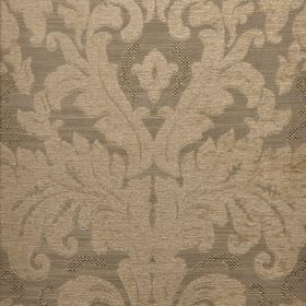 Augusta - Brown (4) - Fabric blended from different materials in two shades of iron grey, with designs which are large, ornate and leafy