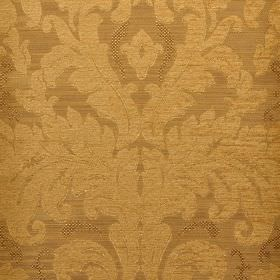 Augusta - Yellow - Large, ornate, leafy patterns on fabric made from polyester, rayon, viscose and viscose-chenille in two shades of brass