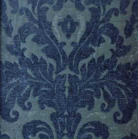Augusta - Blue - Royal blue coloured large, ornate, leafy designs on a dusky blue coloured blended fabric background