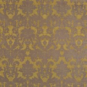 Augusta - Taupe - Jacquard print patterned fabric made from polyester, rayon, viscose and viscose-chenille in ash grey and gold-green