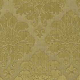 Vivian - Gold (3) - Fabric made from cotton and rayon in light grey and cream-beige, with a repeated ornate leafy floral pattern