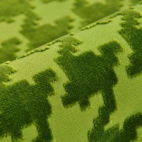 Valmorel CS - Green (1) - Slightly textured olive green coloured abstract shapes with angular edges on light green 100% Trevira CS fabric