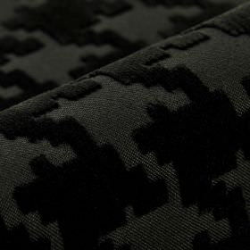 Valmorel CS - Black (5) - Black random shapes with angular edges and a soft texture on dark grey coloured fabric made entirely from Trevira