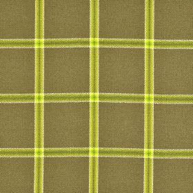 Berger CS - Brown Green (1) - A citrus coloured grid with white edges on a brown-grey coloured 100% Trevira CS fabric background