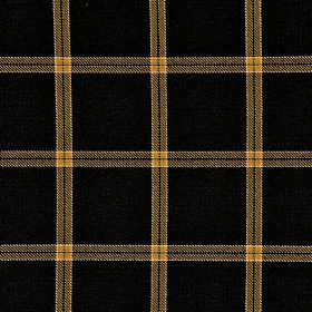 Berger CS - Black Yellow (4) - Black 100% Trevira CS fabric behind a simple grid pattern in mustard yellow with white edges