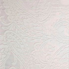 Adelaide - White (1) - Very subtle paisley designs patterning plain white fabric made entirely from polyester