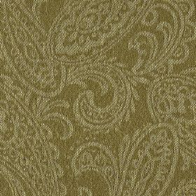 Camden - Brown (3) - Linen and polyester blend fabric in brown-grey, patterned with a detailed paisley print design in a light grey colour