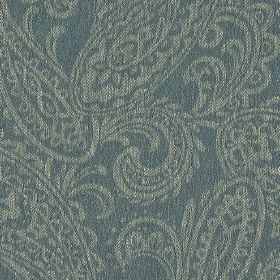 Camden - Blue (5) - Fabric made from dusky blue coloured linen and polyester, with a pattern of light grey coloured detailed paisley shapes