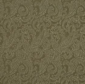 Camden - Brown (7) - A very busy, detailed paisley style design in mid-grey on linen and polyester blend fabric in a slightly darker shade