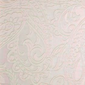 Adelaide - Cream (2) - Fabric made from 100% polyester in white, featuring a large but very subtle pattern of detailed paisley shapes