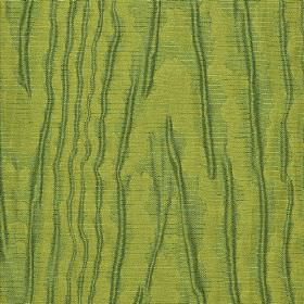 Harmood - Brown Blue (4) - Forest green coloured lines printed roughly, unevenly and patchily on apple green fabric made from linen and poly