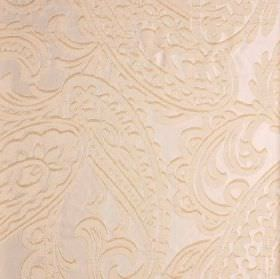 Adelaide - Beige (3) - Very pale pinkish cream coloured paisley shapes creating a detailed but subtle pattern on 100% polyester fabric