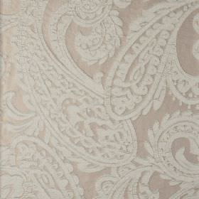 Adelaide - Brown Blue (5) - Light grey coloured 100% polyester fabric behind a large, very detailed paisley pattern in an even paler shade o
