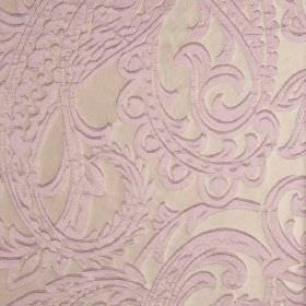Adelaide - Beige Purple (8) - Large, detailed paisley patterns in a very pale shade of purple against a background of 100% polyester fabric