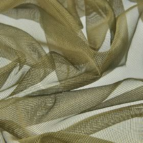 Buccari CS - Green Gold (9) - 100% Trevira CS fabric made with a net style in brown-grey