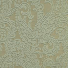 Adelaide - Blue Beige (9) - Pale blue and grey coloured fabric made from 100% polyester featuring a large, detailed paisley print pattern
