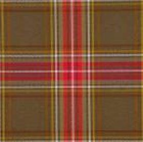 Courchevel CS - Brown Pink (10) - Brown 100% Trevira CS fabric behind a checked design in red, white, yellow, gold, brown and grey-green col