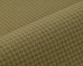 Orelle CS - Brown (10) - A tessellated, repeated houndstooth pattern in straw and grey colours covering 100% Trevira CS fabric