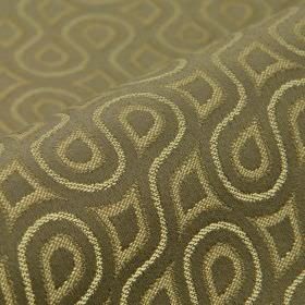 Lenoir - Brown (2) - A pattern of swirling lines, teardrops and curved shapes covering cotton and viscose fabric in cream, beige & grey-brow