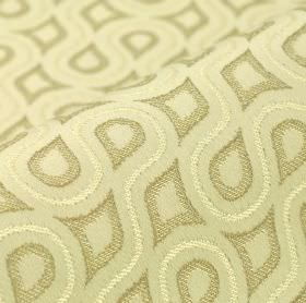 Lenoir - Cream Beige (4) - Cream and two different pale shades of grey making up a cotton and viscose blend fabric with a pattern of swirlin