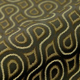 Lenoir - Black (5) - Dark grey, cream and beige coloured swirling lines, teardrops and curved shapes on fabric made from cotton and viscose