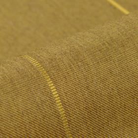 Odeon - Light Brown (4) - Very pale yellow lines spaced widely over beige-green coloured fabric woven from polyester and viscose